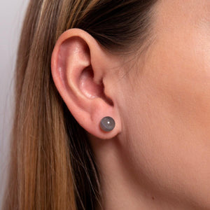 Charcoal Agate | .925 Sterling Silver | Stone Stud Earrings