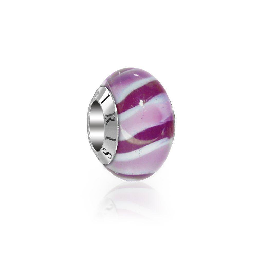 Nicky - Purple Candy Cane Murano Glass Bead from IRIS