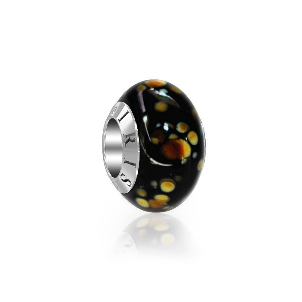Erin - Black  Spotted Murano Glass Bead from IRIS