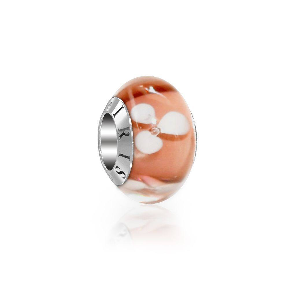 Mary - Peach Flower Murano Glass Bead from IRIS