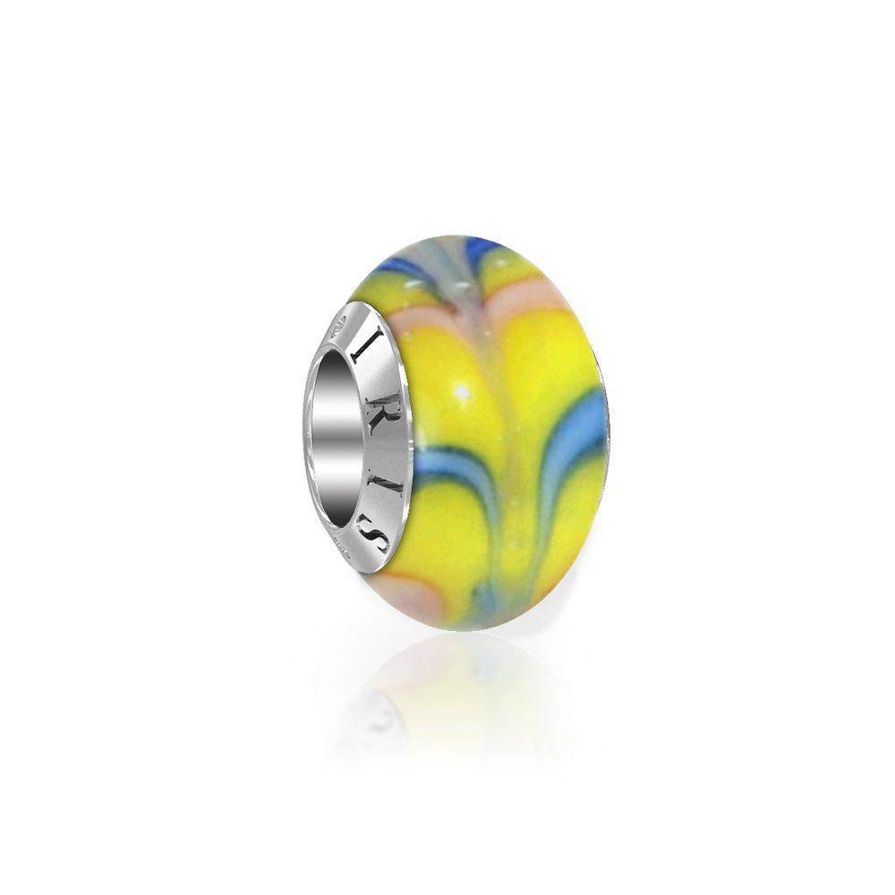 Sydney - Yellow Chevron Murano Glass Bead from IRIS