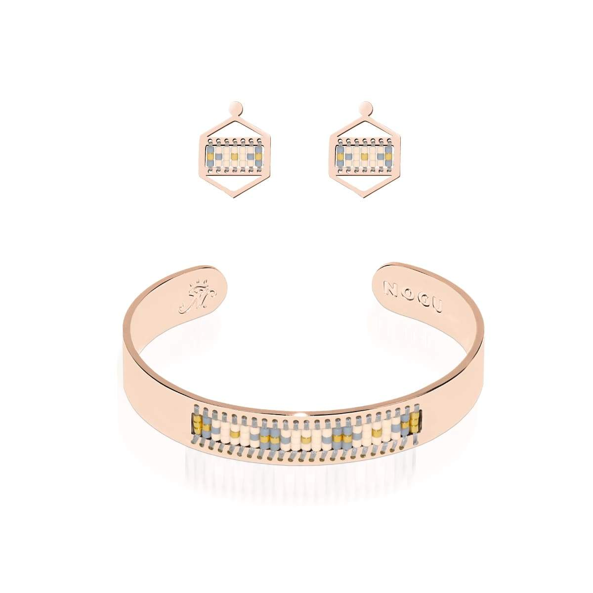 Monterey | Or rose 18 carats | Ensemble de boucles d'oreilles Boho Bangle