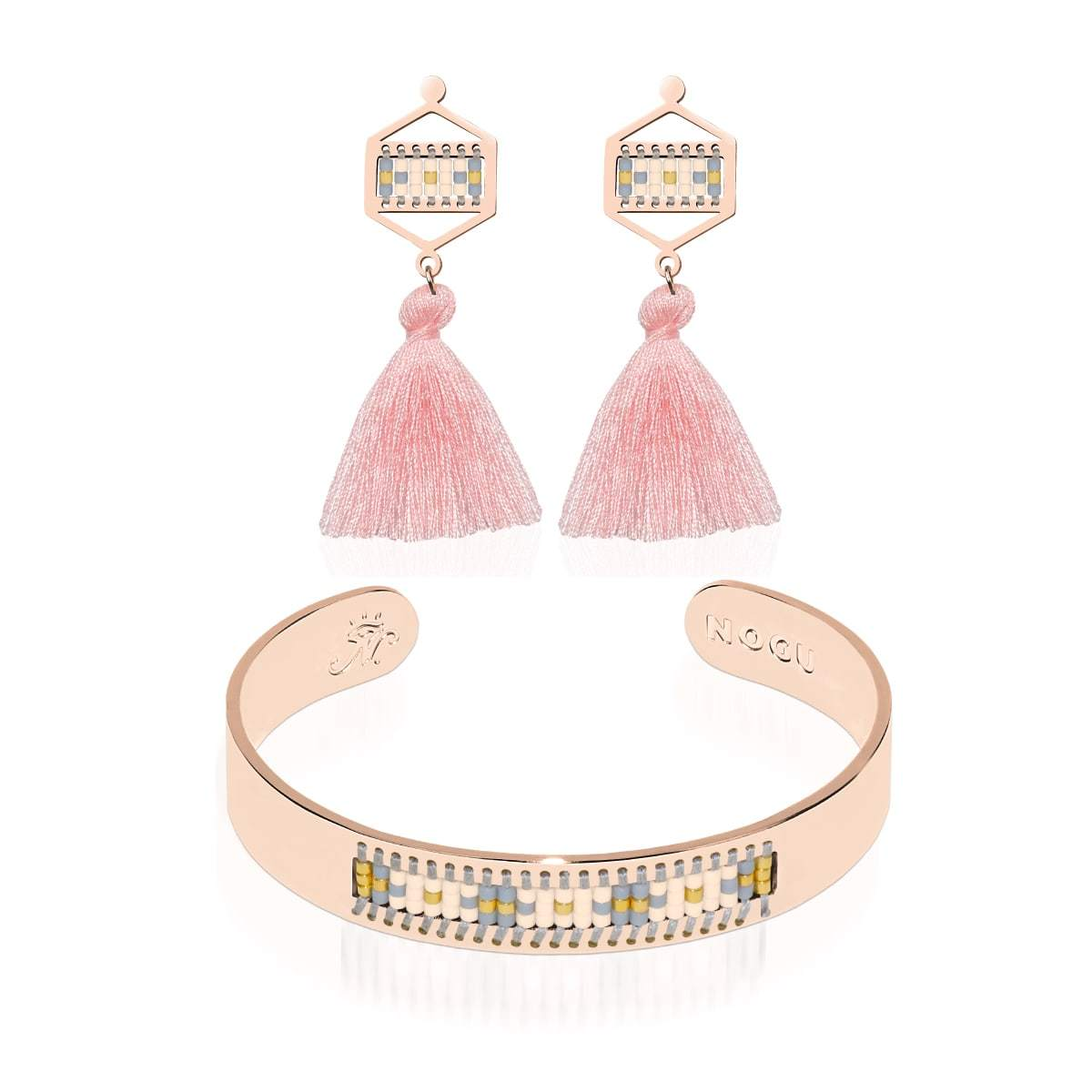 Monterey | 18k Rose Gold | Boho Bangle Fringe Earring Set