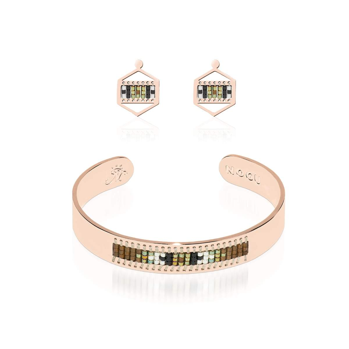 Rolling Hills | 18k Rose Gold | Boho Bangle Earring Set