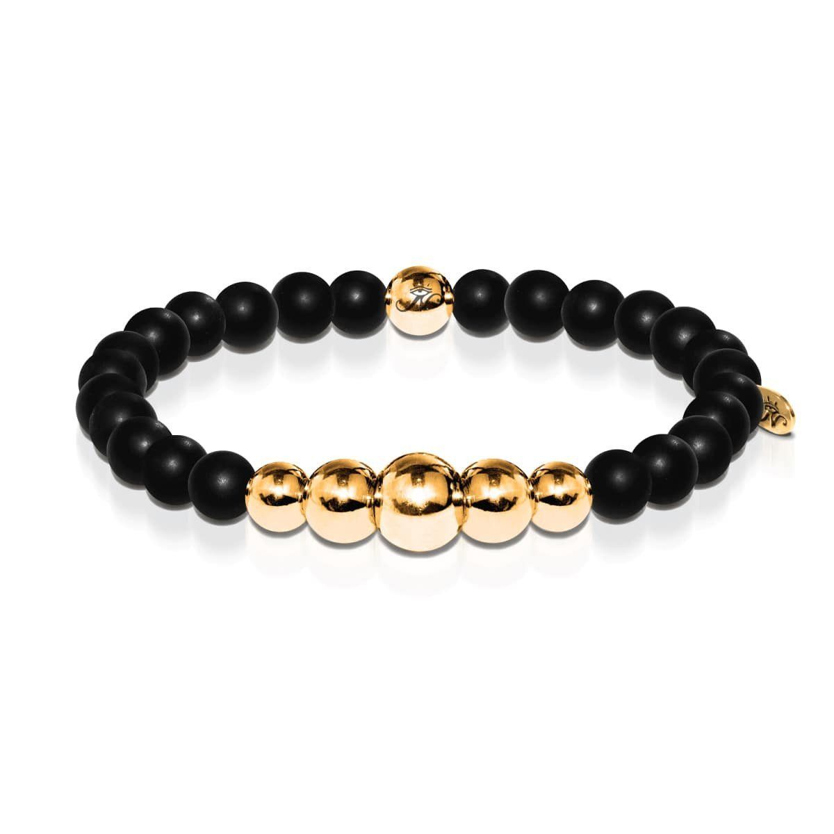 Men's | 18k Gold | Temple | Matte Black Bead Bracelet