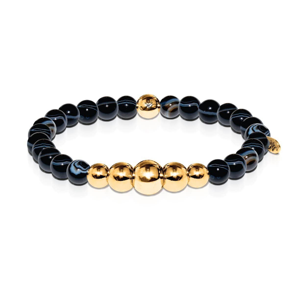 Men's | 18k Gold | Temple | Black Line Agate Bead Bracelet