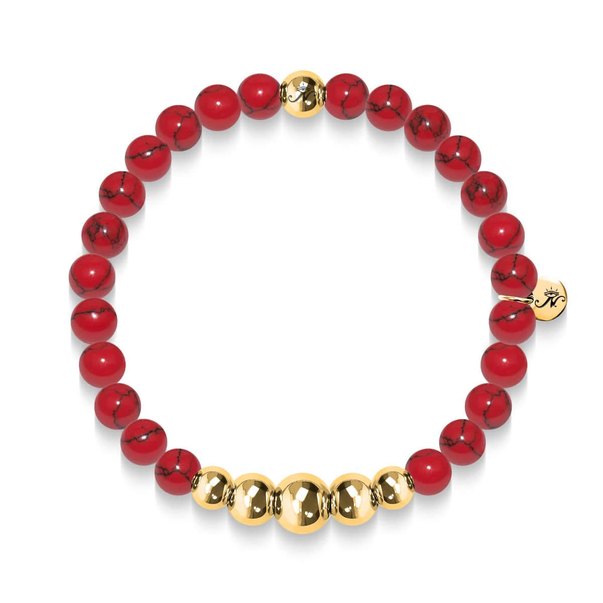 Tranquility | Gold Aura Red Turquoise Bracelet