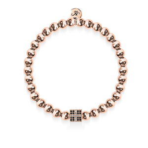 Lucky | 18k Rose Gold | Crystal Dice Charm Bracelet