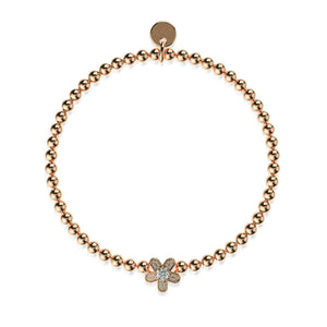 Flower Power | 18k Rose Gold | Crystal Charm Bracelet