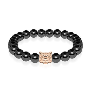 Men's | Leopard | Gunmetal & 18k Rose Gold | Crystal Cat