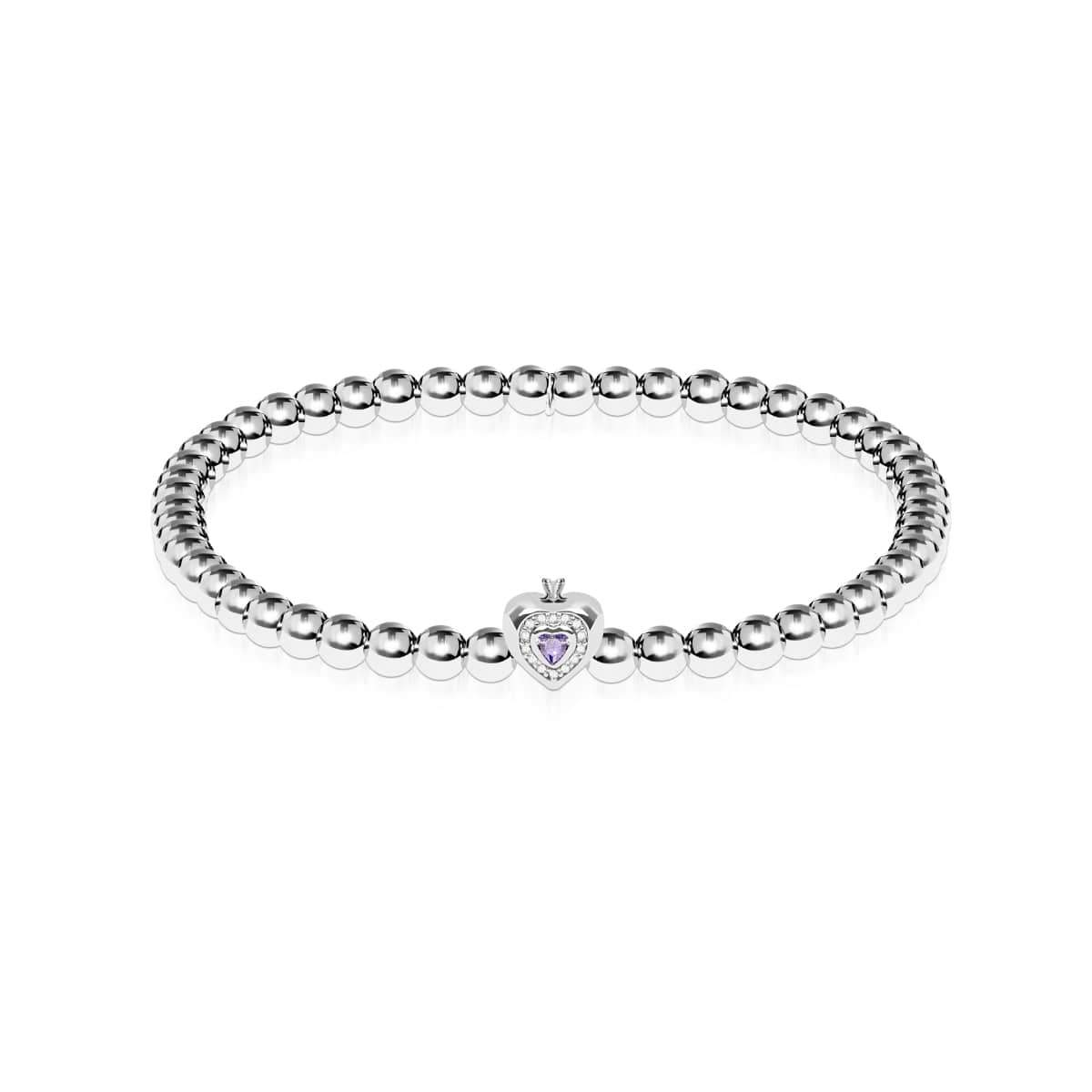 June | Violet Crystal Birthstone | Silver | Crystal Heart Bracelet