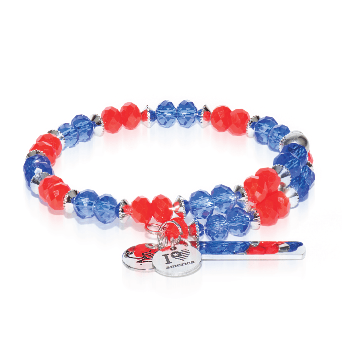 Orange & Blue | Silver Glass Crystal Expandable Bangle