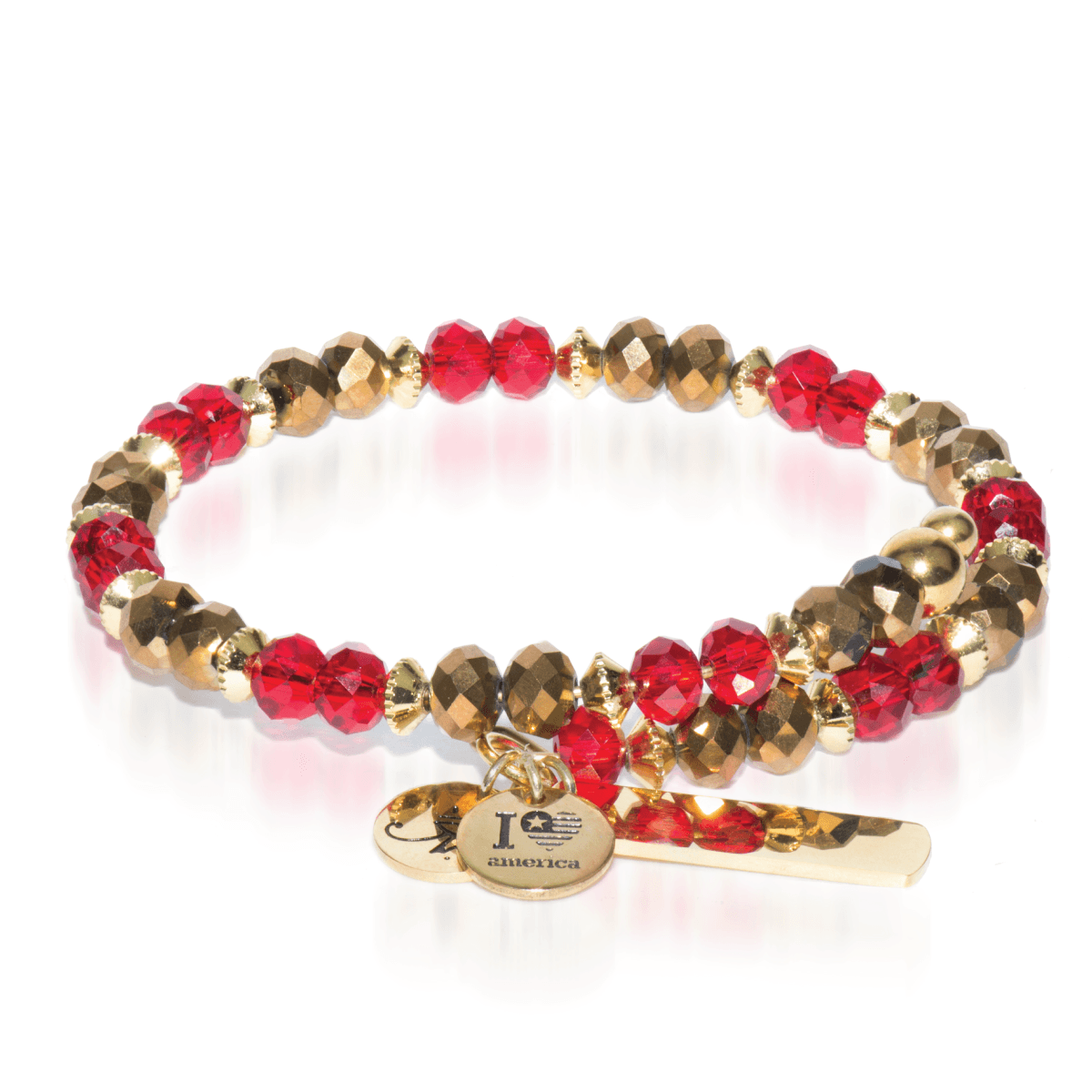 Gold & Red | Gold Glass Crystal Expandable Bangle