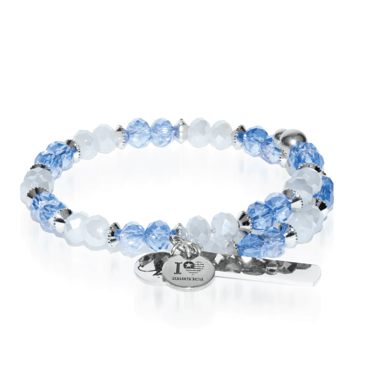 Light Blue & White | Silver Glass Crystal Expandable Bangle