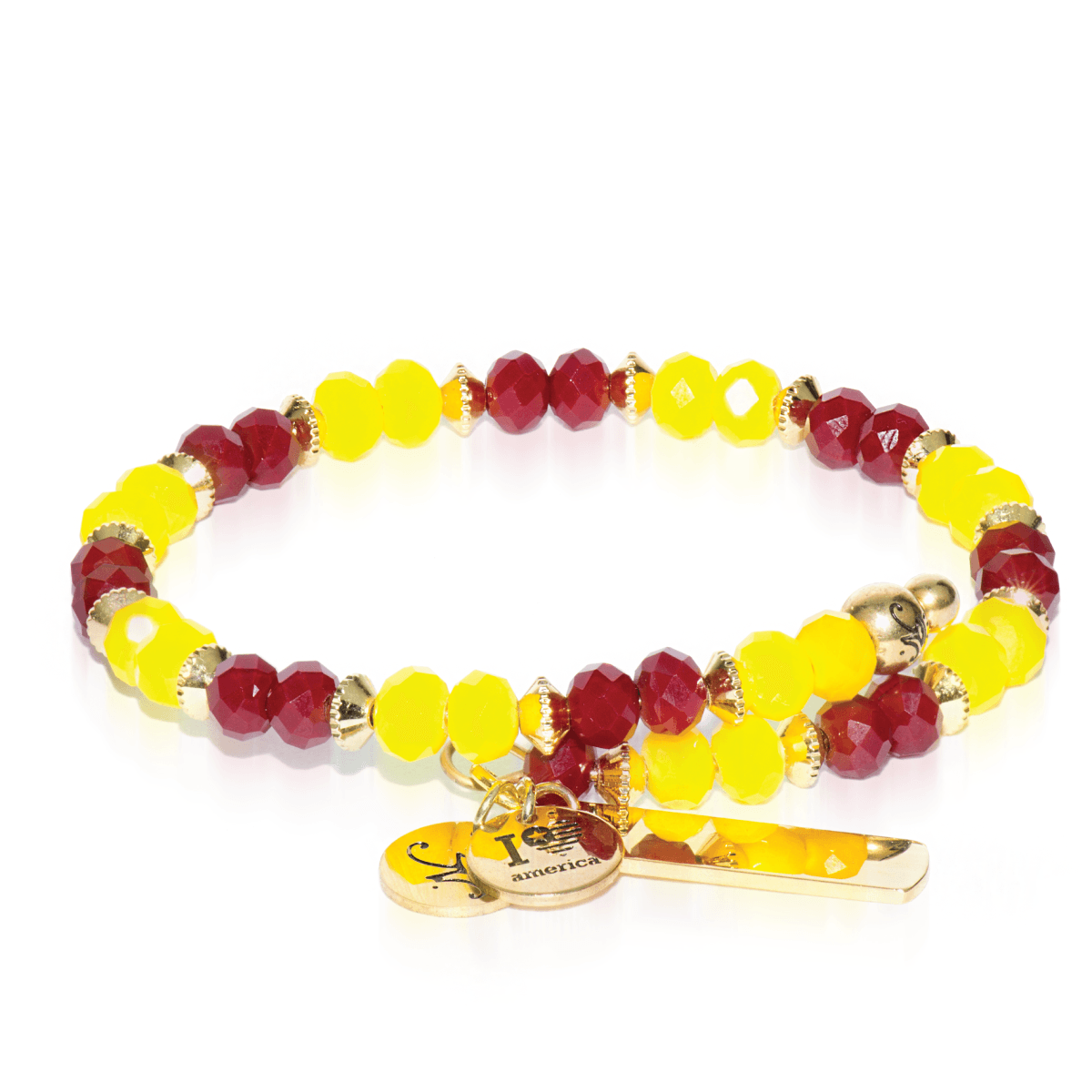 Red & Yellow | Gold Glass Crystal Expandable Bangle