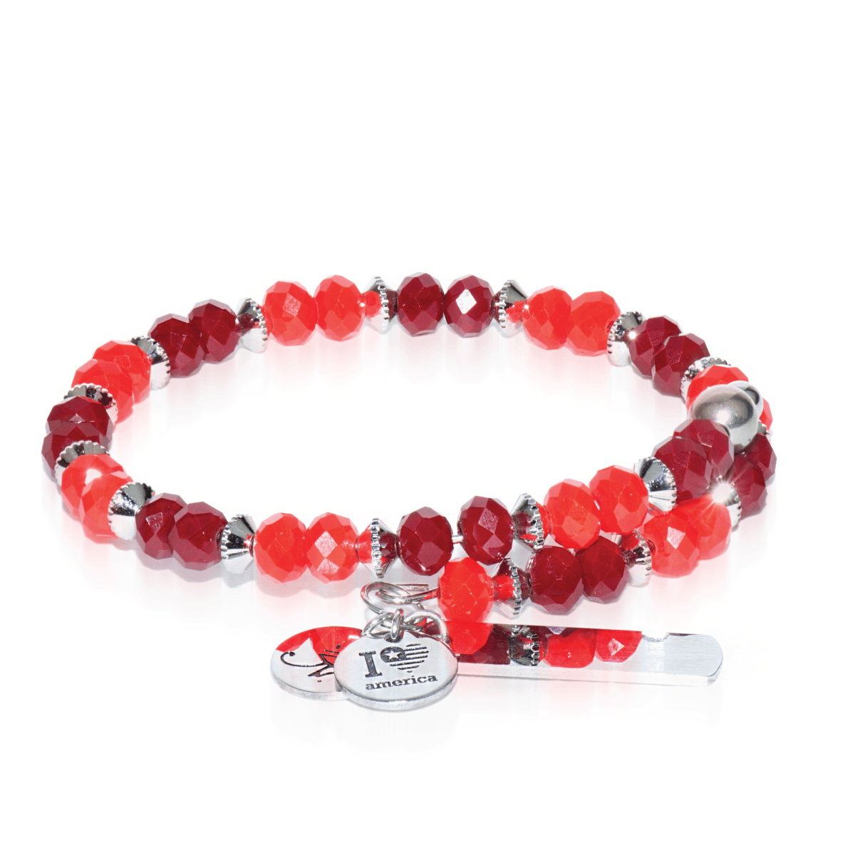 Red | Silver Glass Crystal Expandable Bangle