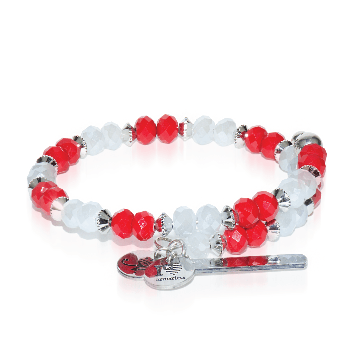 Red & White | Silver Glass Crystal Expandable Bangle