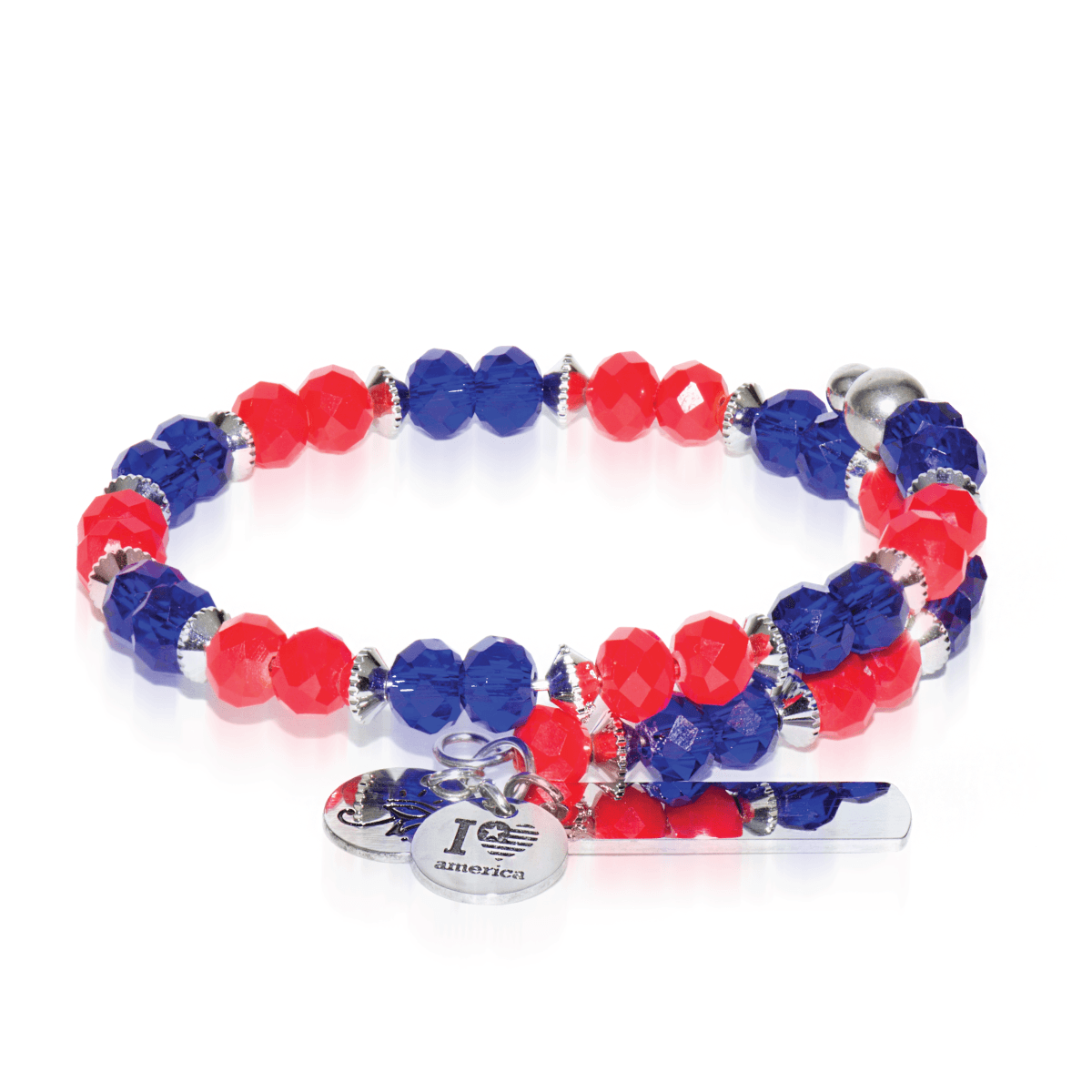 Navy & Red | Silver Glass Crystal Expandable Bangle