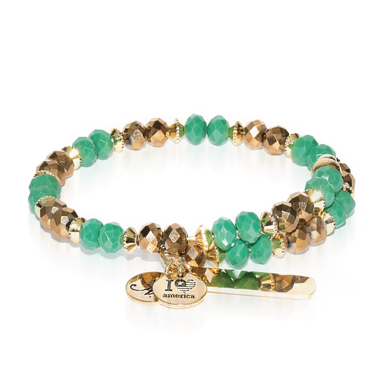 Green & Gold | Gold Glass Crystal Expandable Bangle