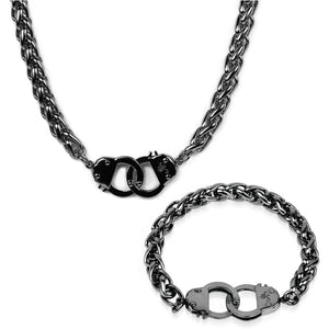 Gunmetal Steel | Chain Cuff Bracelet & Necklace Set