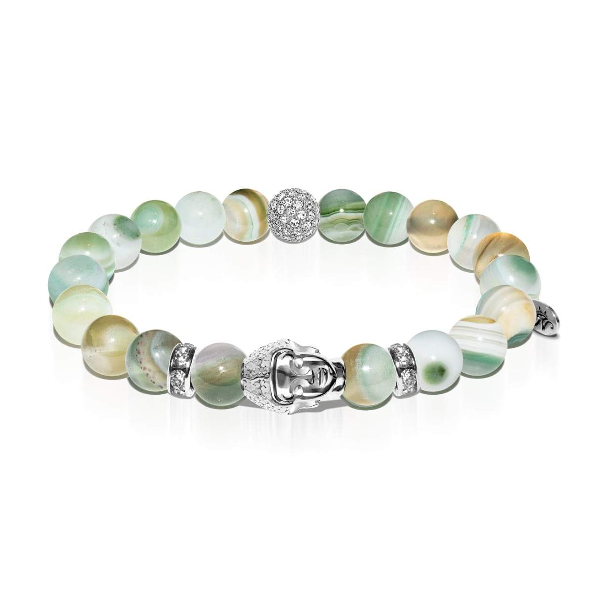Ethereal | White Gold Buddha | Light Green Striped Agate Bracelet