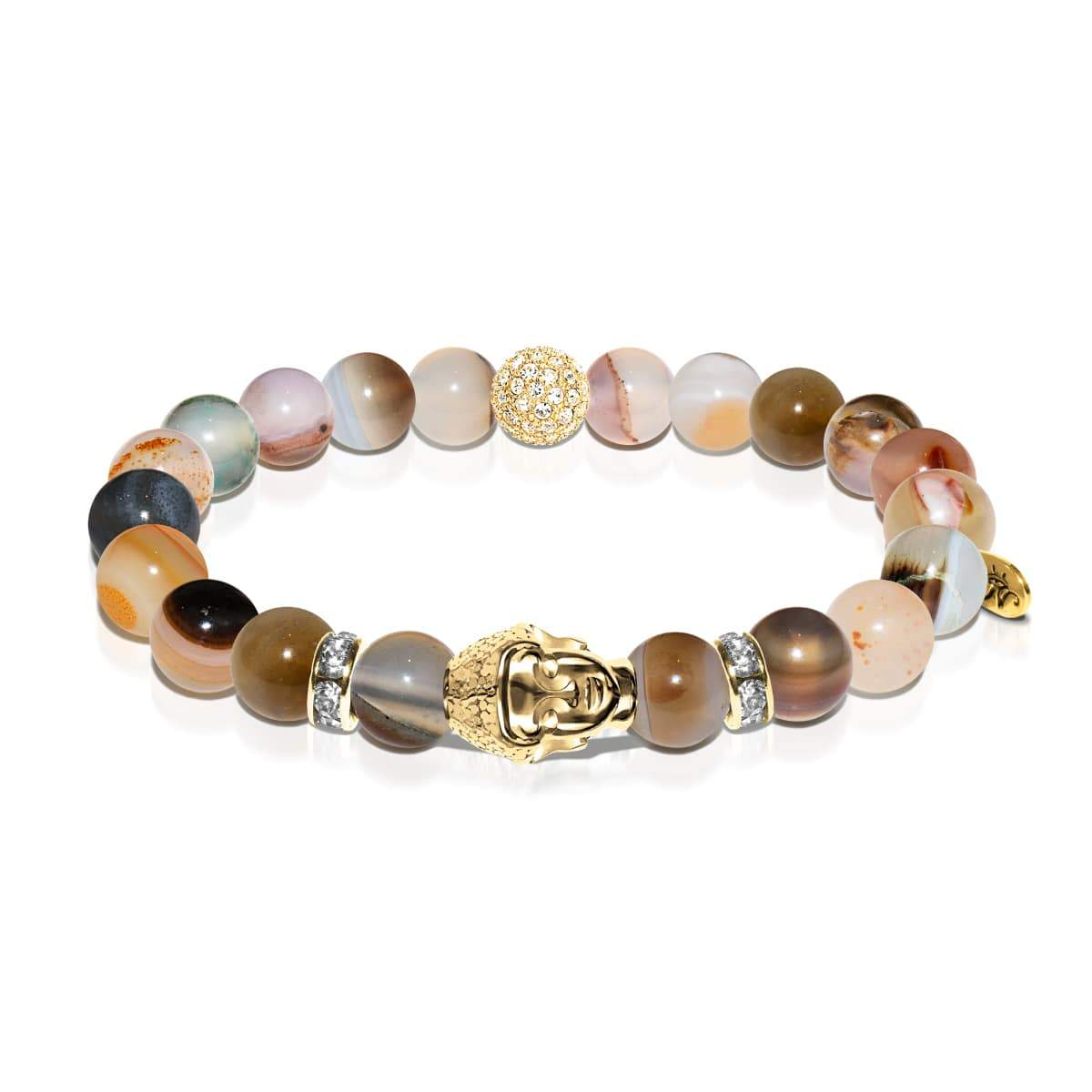 Mandala | Gold Buddha | Brown Striped Agate Bracelet
