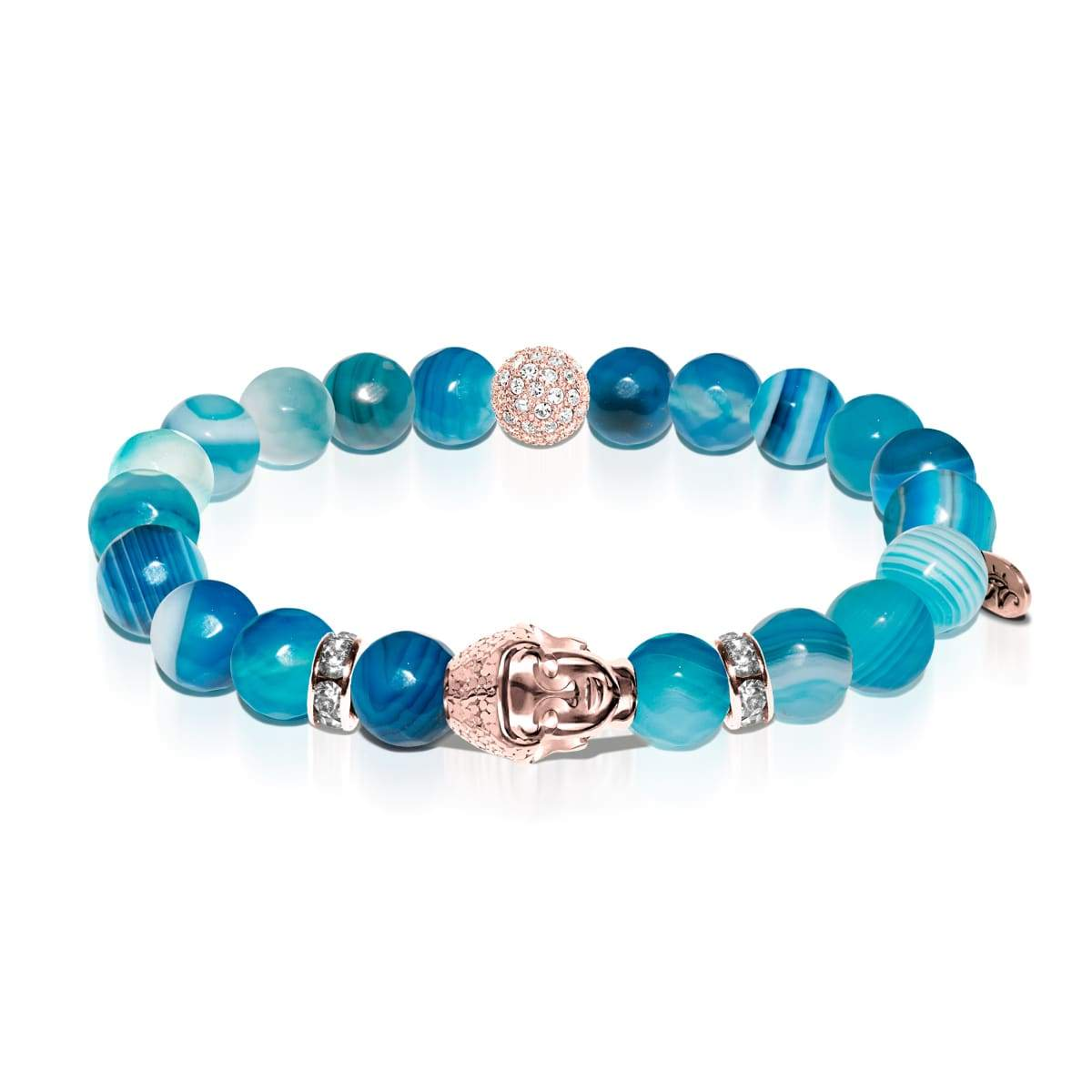 Shaman | Rose Gold Buddha | Blue Striped Faceted Agate Bracelet