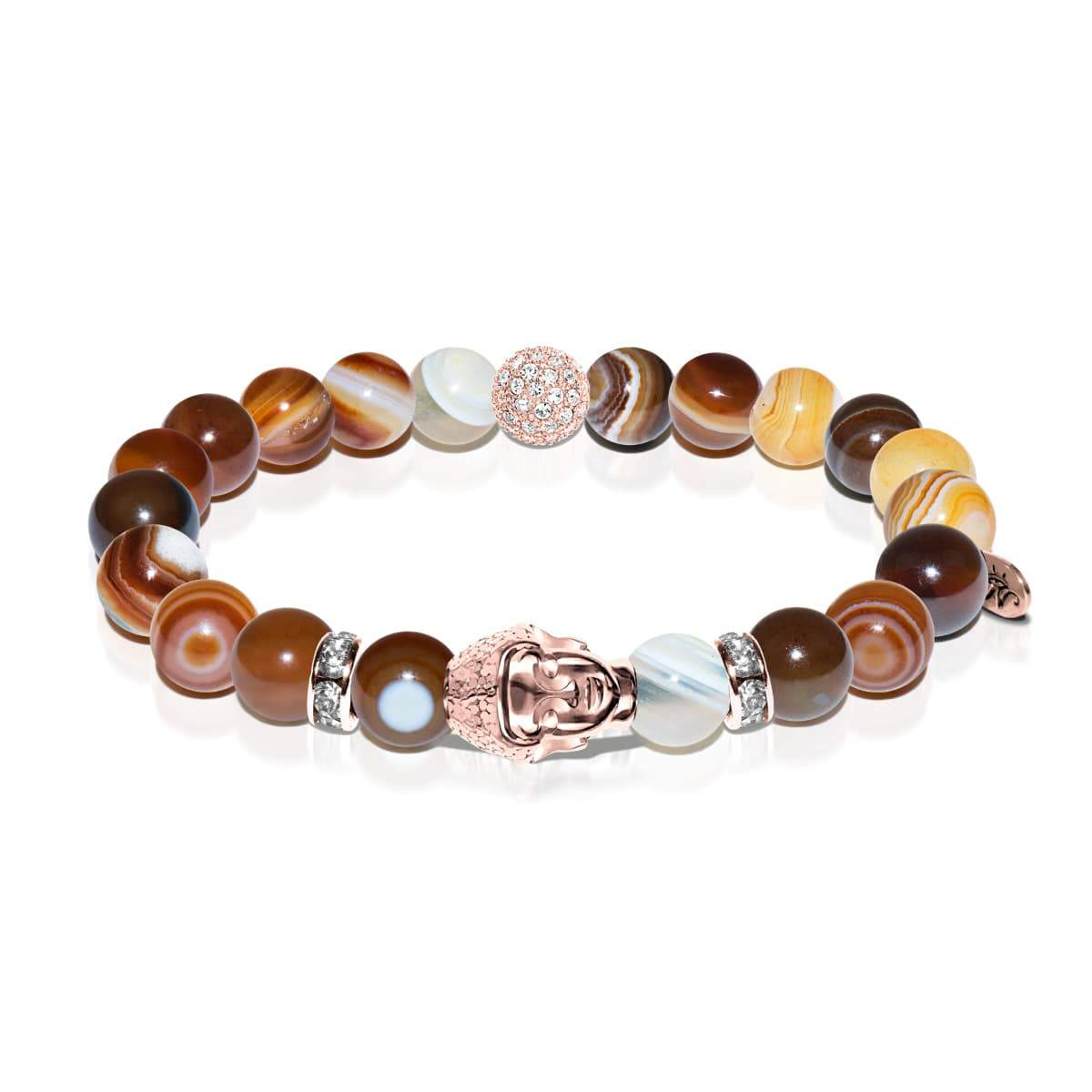 Tao | Bouddha en or rose | Bracelet agate rayé marron clair
