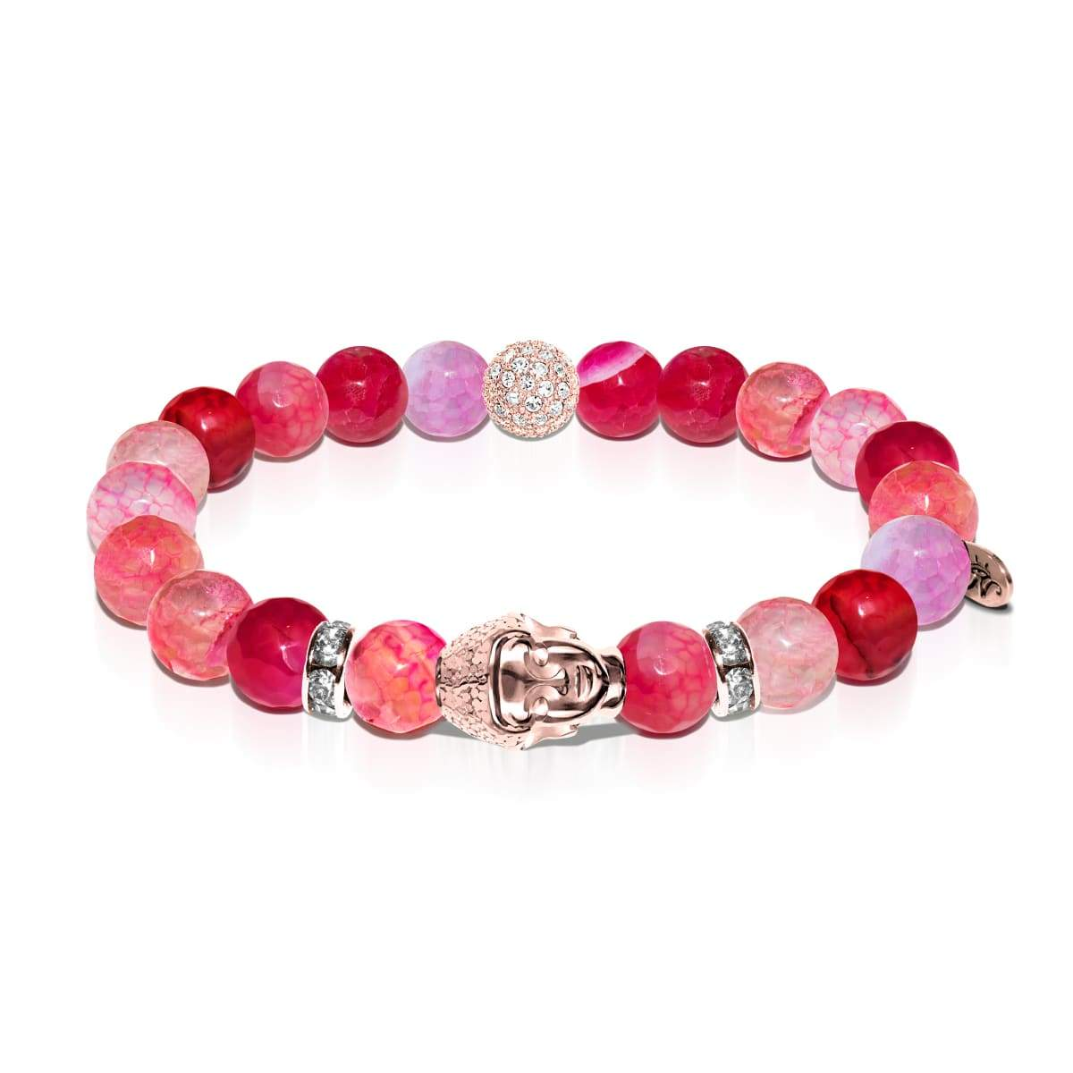 Terma | Bouddha en or rose | Bracelet agate grain de dragon rose