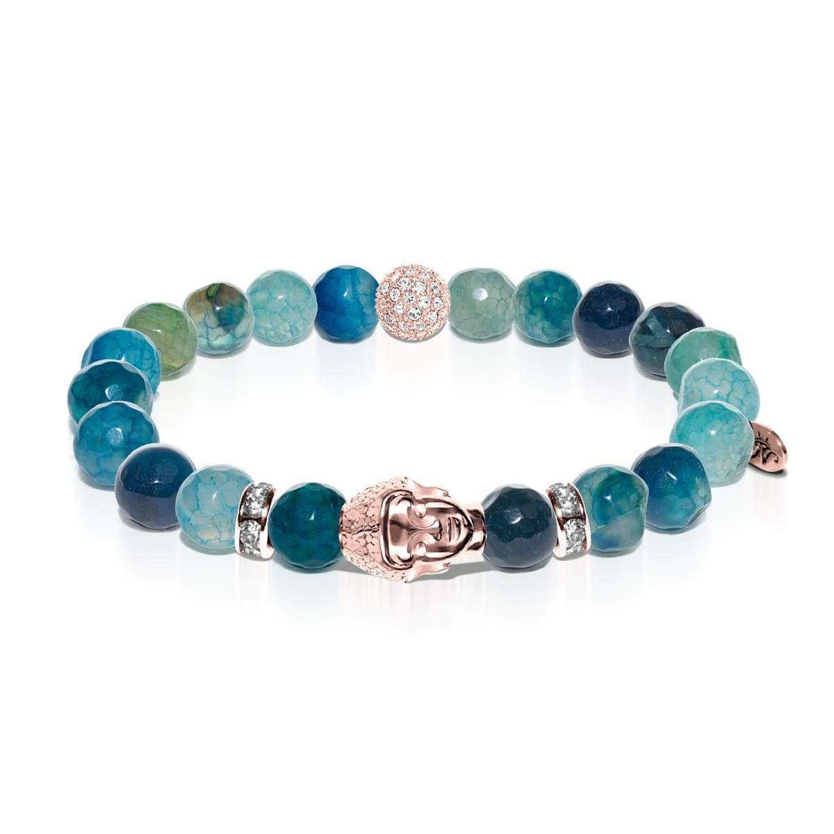 Lotus tibétain | Bouddha en or rose | Bracelet agate grain de dragon vert
