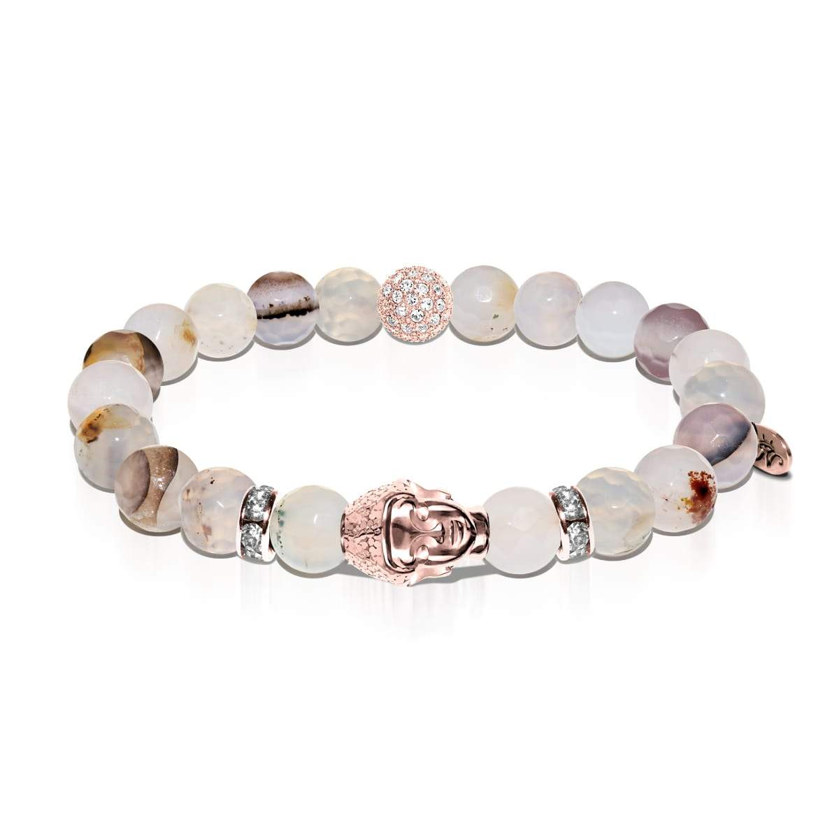 Sensei | Rose Gold Buddha | Light Brown Faceted Agate Bracelet