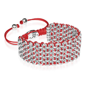 Silver Kismet Links Bracelet | Crimson Red | Deluxe