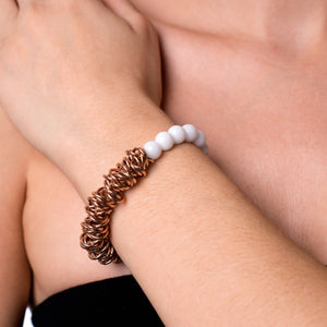 18k Rose Gold | White Jasper | Links of Love Bracelet