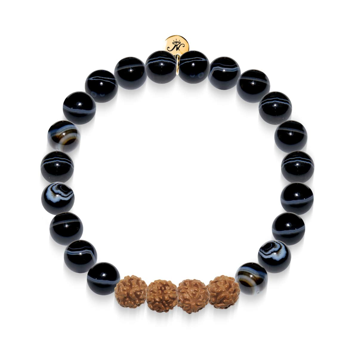 Hands of Fate | Gold Mala Yoga Bracelet | Black Line Agate
