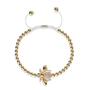 Queen | 18k Gold | Crystal Honeybee Macrame Charm Bracelet