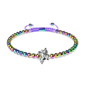 Pegasus | Unicorn Steel | Winged Unicorn Macrame Charm Bracelet