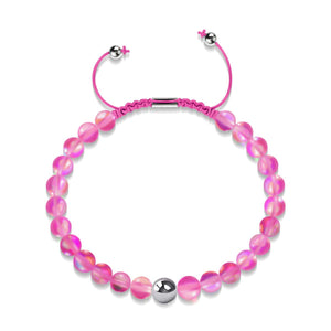 Magenta | Silver | Mermaid Glass Macrame Bead Bracelet