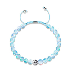 Aquamarine | Silver | Mermaid Glass Macrame Bead Bracelet