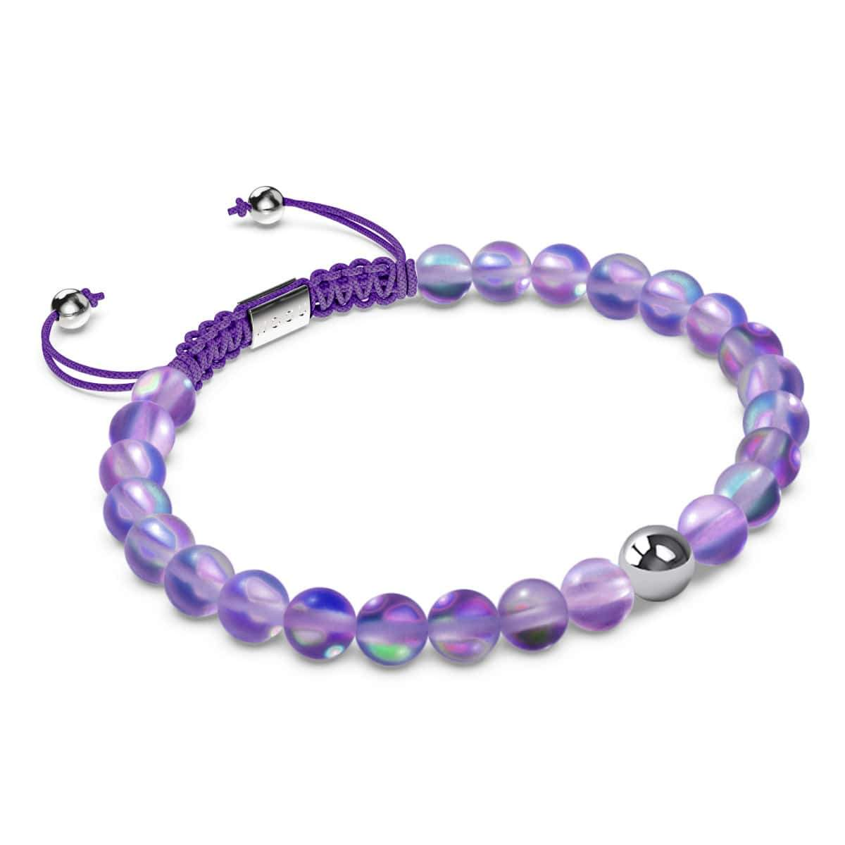 Violet | Silver | Mermaid Glass Macrame Bead Bracelet