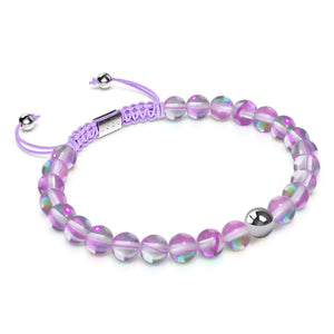 Electric Purple Crystal | Silver | Mermaid Glass Macrame Bead Bracelet