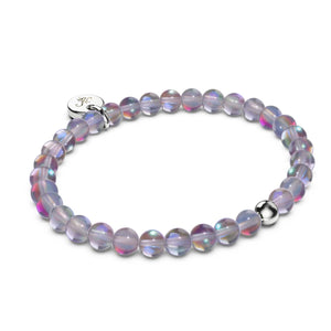 Neon Grey Crystal | White Gold Vermeil | Mermaid Glass Bead Bracelet