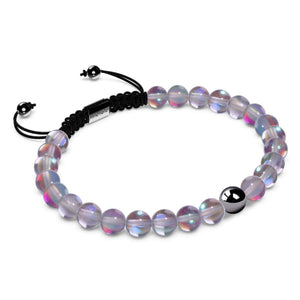 Neon Grey Crystal | Gunmetal | Mermaid Glass Macrame Bead Bracelet
