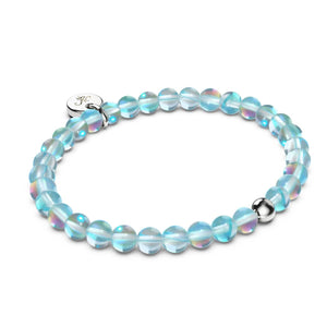 Ocean Crystal | White Gold Vermeil | Mermaid Glass Bead Bracelet