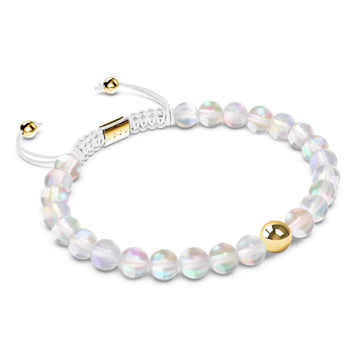 Unicorn White Crystal | Gold | Mermaid Glass Macrame Bead Bracelet