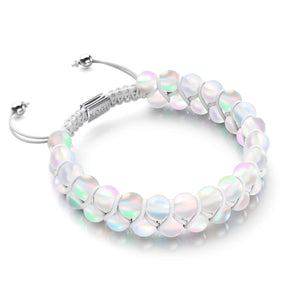Rainbow White | Silver | Double Mermaid Glass Bracelet