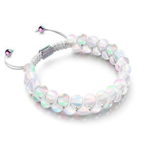 Rainbow White | Unicorn Silver | Double Mermaid Glass Bracelet