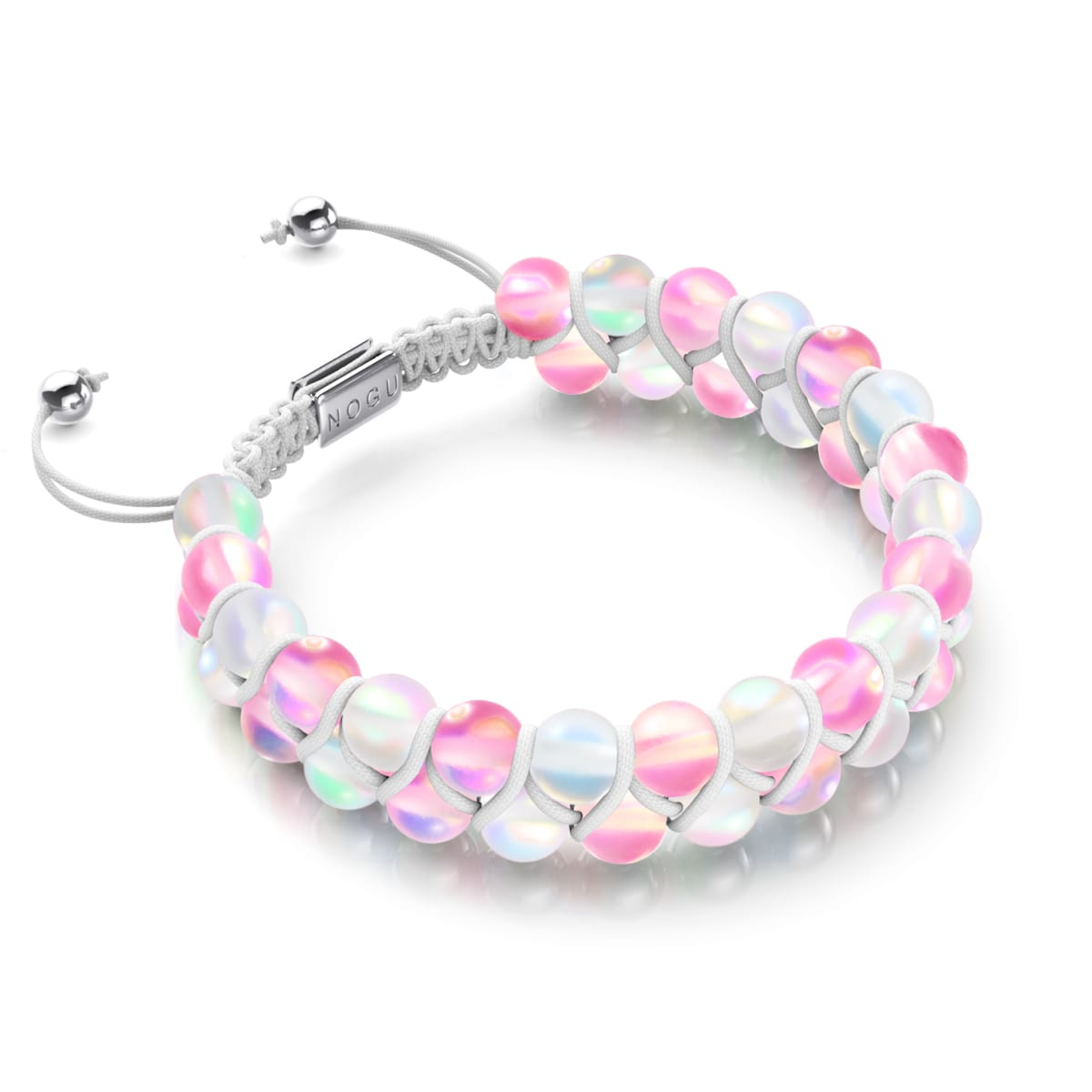 Pink and White | Silver | Double Mermaid Glass Bracelet