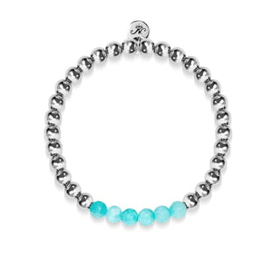 Cheerful | Silver | Aquamarine Jade | Gemstone Expression Bracelet