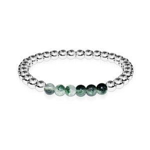Grateful | Silver | Green Leaf Agate | Gemstone Expression Bracelet