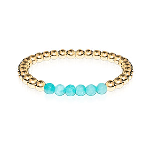 Cheerful | 18k Gold | Aquamarine Jade | Gemstone Expression Bracelet